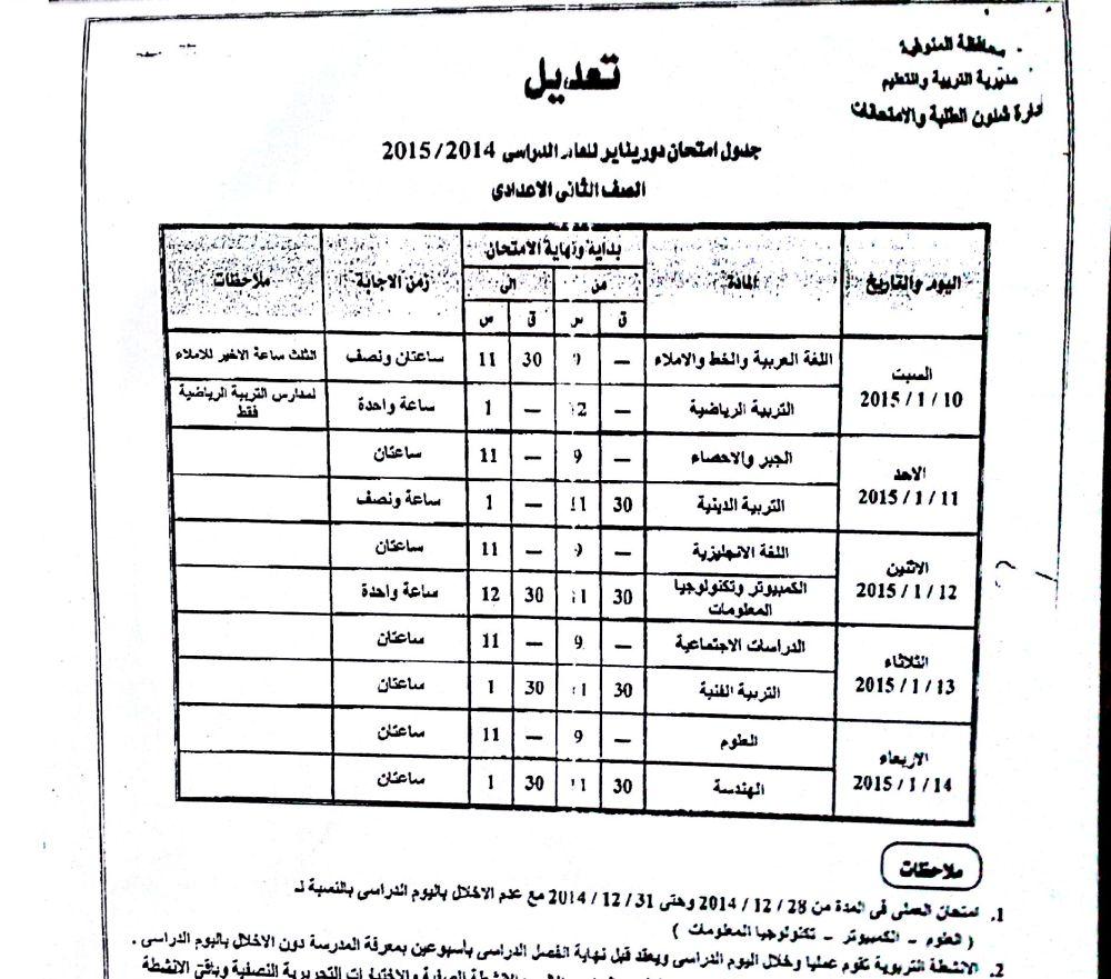 عاجل ..تعديل فى جداول امتحانات المدارس بالمنوفية (5/6)